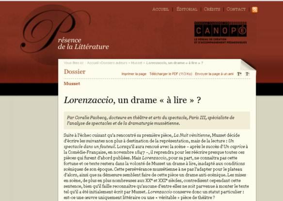 Lorenzaccio, un drame � lire�?