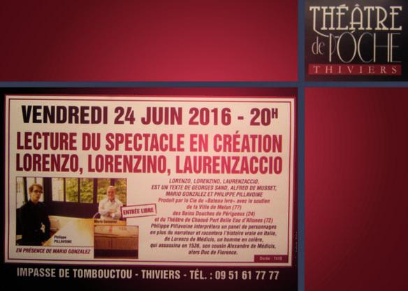 Lecture de Laurenzaccio au Théâtre de Poche